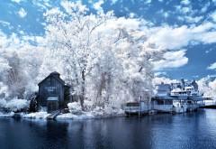Зимняя река дом на берегу картинки для рабочего стола �…