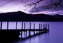 Фиолетовый сумрак, закат, причал картинки для рабочего стола