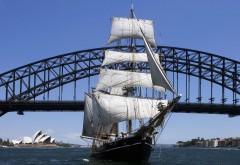 Парусник под Sydney Harbor мост Сидней Австралия картинки
