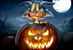 Кошка, тыквы, ночь, луна, ужас, монстр, картинки