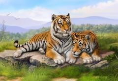 Тигры рисованные картинки для рабочего стола скачать