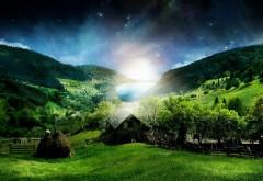 3d обои природы зеленый луг, горы, лес