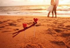 Настроение, мальчик, девочка, сердца, пляж, волны, море, обои