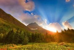 HD обои горы восход солнца бесплатно