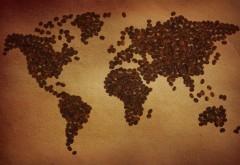 HD обои карта мира из кофейных зерен