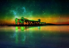 HD обои красивое здание на берегу ночью