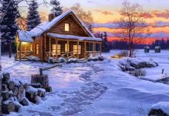 HD обои Рисунок зимы и лесного домика