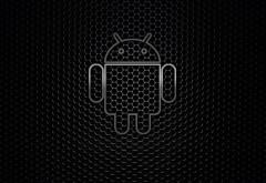 HD обои бренд Андроид на черном фоне