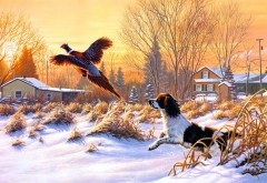 Рисунок собаки которая охотится