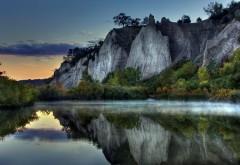 Восход, горы, озеро, природа, скалы, HD обои, скачать