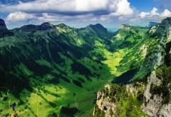 Горная долина в Швейцарии широкоформатные HD обои скачать