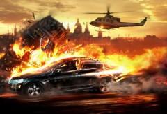 Взрывы, гонки, погоня, спорткар, HD обои, скачать