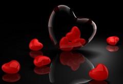 Красные сердечки, алые сердца, 3D заставки, скачать, люб�…