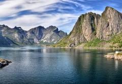 Гора, небо, озеро летом, фоны, заставки
