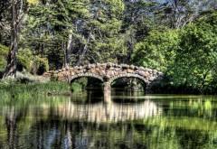 Мост, река, отражения деревьев, фоны, заставки