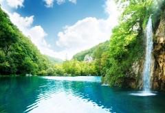 Водопад, джунгли, зелень, лето, облака, небо, голубое озеро, тропики, горячие, фоны, заставки
