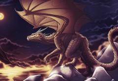Дракон, фэнтези, полнолуния, рисованные, фоны, заставки