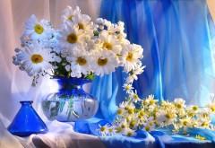 Ромашка, ваза, цветы, букет, украшение, фоны, заставки