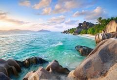 Остров, летнее небо, песчаный пляж, пальмы, камни, фоны, …