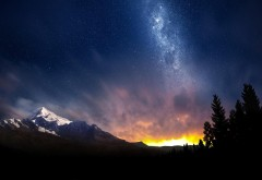 Небо, ночь, Альпы, деревья, закат, обои hd, бесплатно