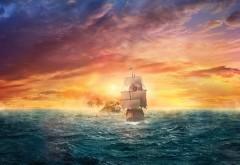 Пиратский парус в море обои hd бесплатно