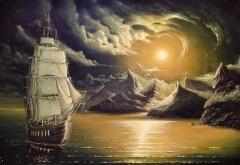 Корабль с белыми парусами в море рисованные обои hd бес�…