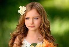 Девушка, длинные волосы, цветы, Симпатичная девочка, ре…