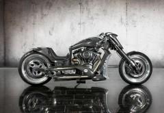 Картинка тюнингованого, серебристого мотоцикла
