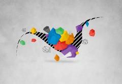 Фигуры из цветной бумаги, оригами обои hd бесплатно ска�…