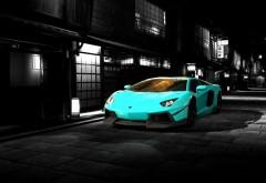 Голубой Lamborghini, спортивный автомобиль, обои hd, бесплатно