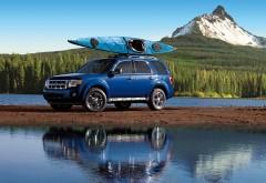 Джип, машина, лодка, байдарка, река, горы, лес, обои hd, бесплатно