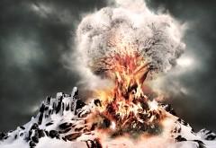 Огненное дерево на снежной горе абстрактные фоны HD
