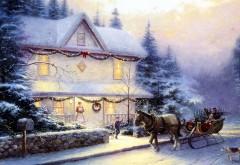 Сани, снег, праздник, елка, лошади,дом, новый год, картин…