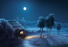 Синяя ночь, полная луна, пейзаж, хата, избушка, обои, картинки