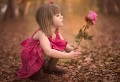 Милая девочка в розовом платье с розовой розой в руках широкоформатные обои скачать