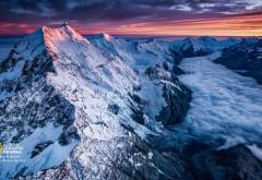 National Geographic, Майкл Мелфорд, снег, закат, облака, Фото, обои