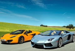 Lamborghini, McLaren Aventador LP700-4, MP4-12C, спортивный автомобиль, обои…