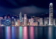 Гонконг ночной город набережная обои скачать бесплатн…