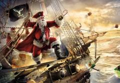 Пират Санта на корабле праздничные Новогодние картинки на рабочий стол