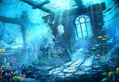 Подводный мир, фэнтези природа, рыбки, море, затонувший…
