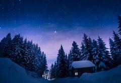 Красивая ночная снежная зима обои HD