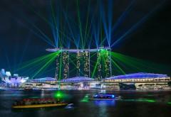 Сингапур, Marina Bay Sands, блики, Marina Bay, ночь, огни, лазерное шоу, Казино, гостиница, hd обои