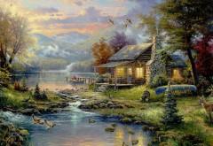 Томас Кинкейд, рай, пейзаж, рисунок, река, дом, обои, кар�…