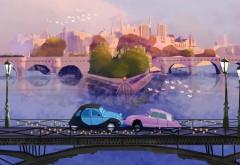 Картина, Забавные автомобили, поцелуй машин, мост, горо…