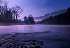 Спокойный пейзаж, ночь, река, лес, картинки, фоны, заста�…