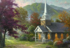 Рисованные обои церковь Томас Кинкейд картинки на рабочий стол