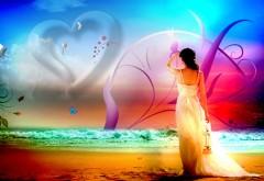 Романтические обои, девушка у моря, сердце, небо, 3D, картинки