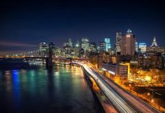 Манхэттен, мегаполис, ночной город, небоскребы, огни, о�…