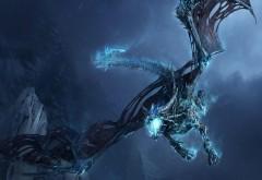 Дракон, полет, челюсти, камни, ночь, ледяной, картинки