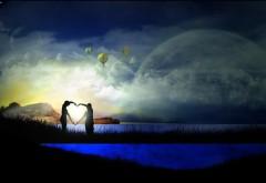 Романтическая пара, воздушные шары, сердце, луна, 3D, мос…